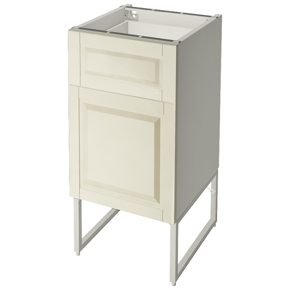 METOD Base Cabinet With Wire Baskets White Bodbyn Off White  3D View