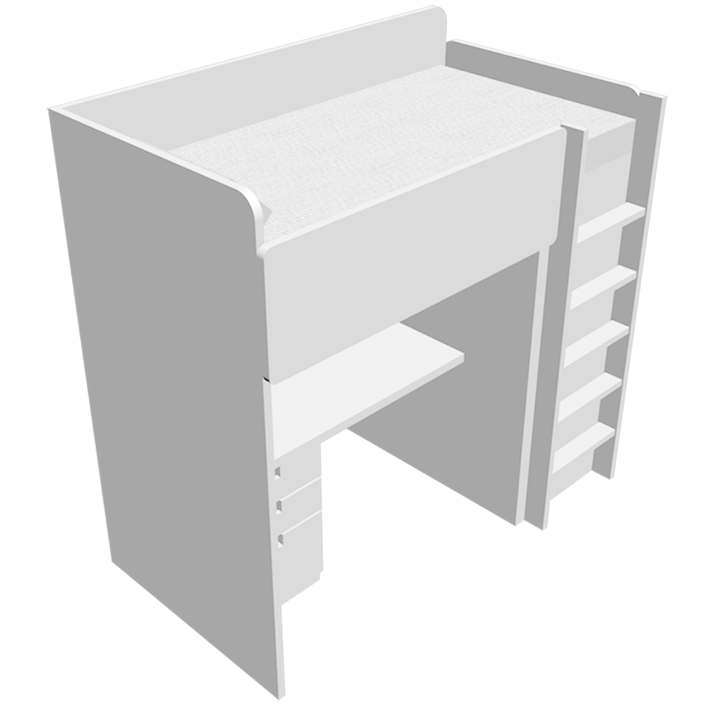Cad and bim object stuva lit mezzanine 1place avec penderie et bureau ikea - Lit mezzanine avec bureau ikea ...