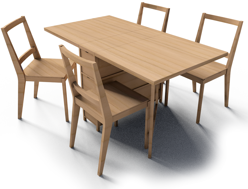 Cad and bim object gateleg table and bertil chairs ikea - Gateleg table with chairs ...