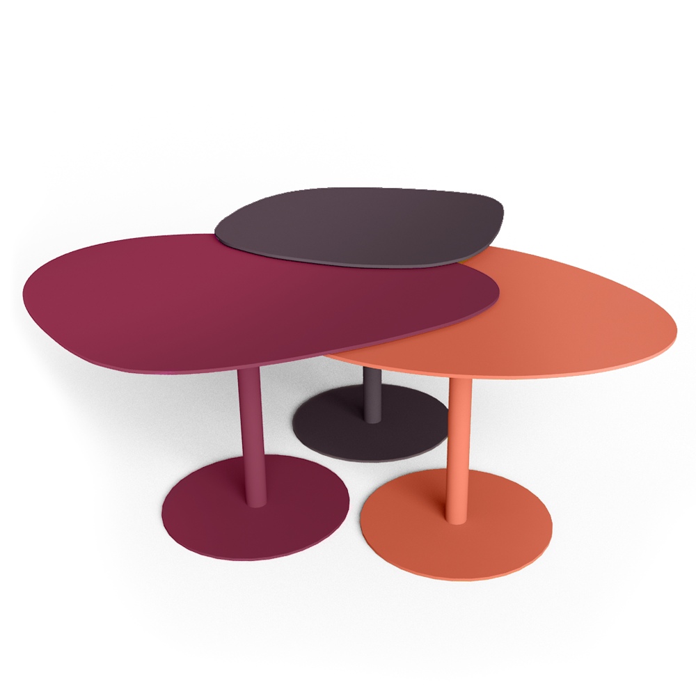 Cad and bim object matiere grise table basse 3 galets - Table basse 3 plateaux ...
