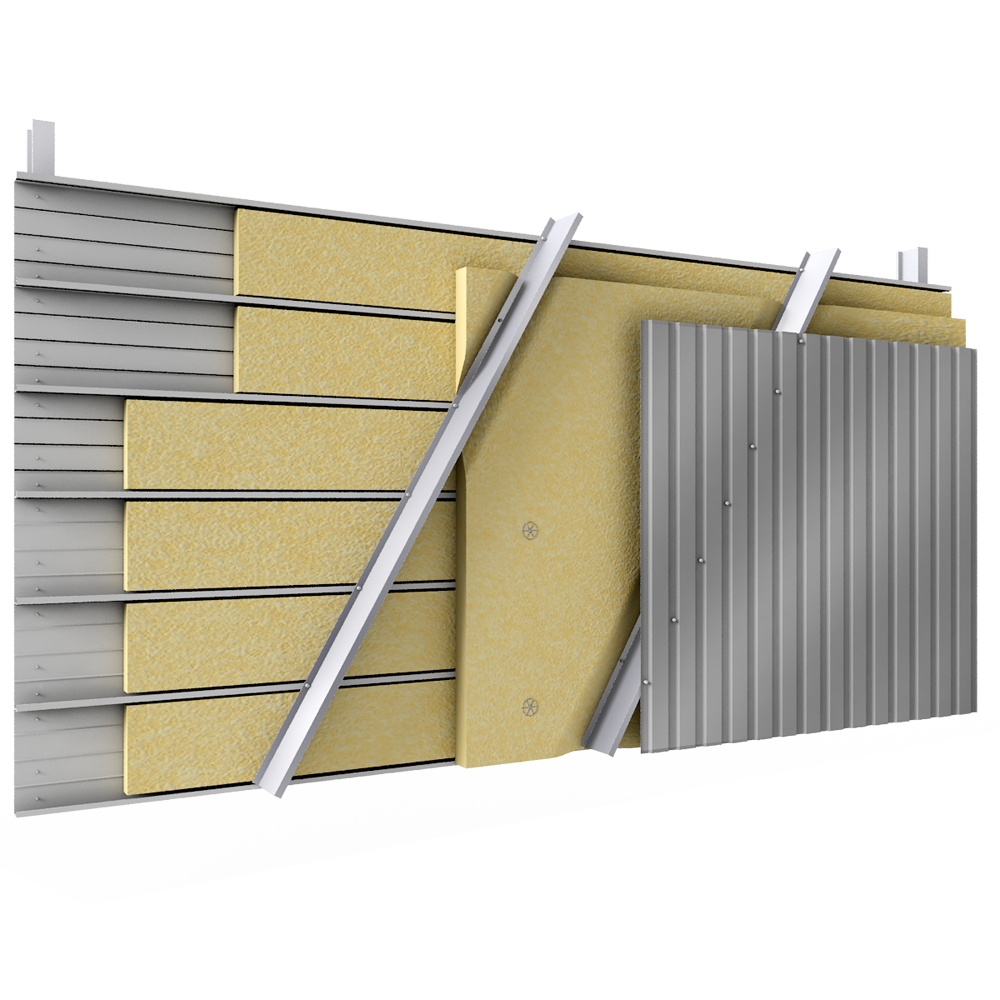 Steel double skin cladding V pos trays diagonal spacers insulation  3D View