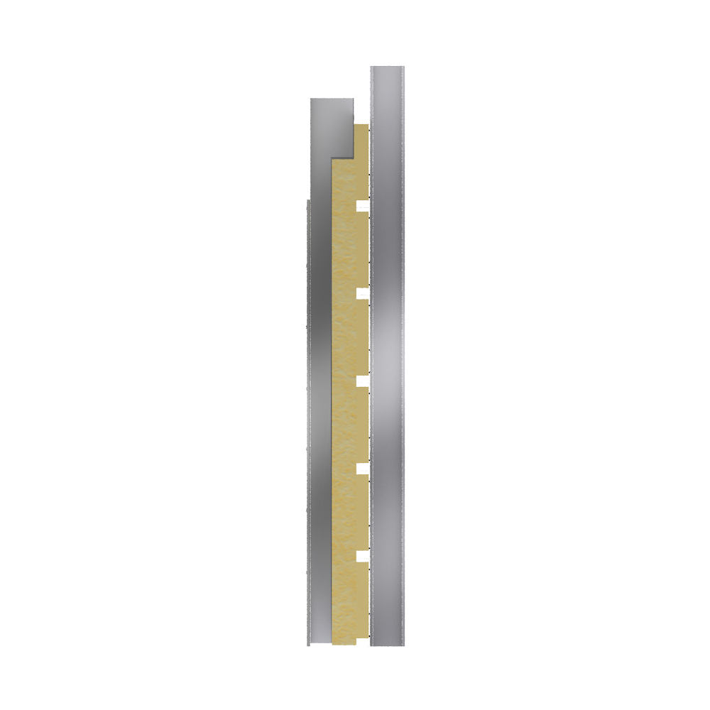 Steel double skin cladding V pos trays diagonal spacers insulation  Right