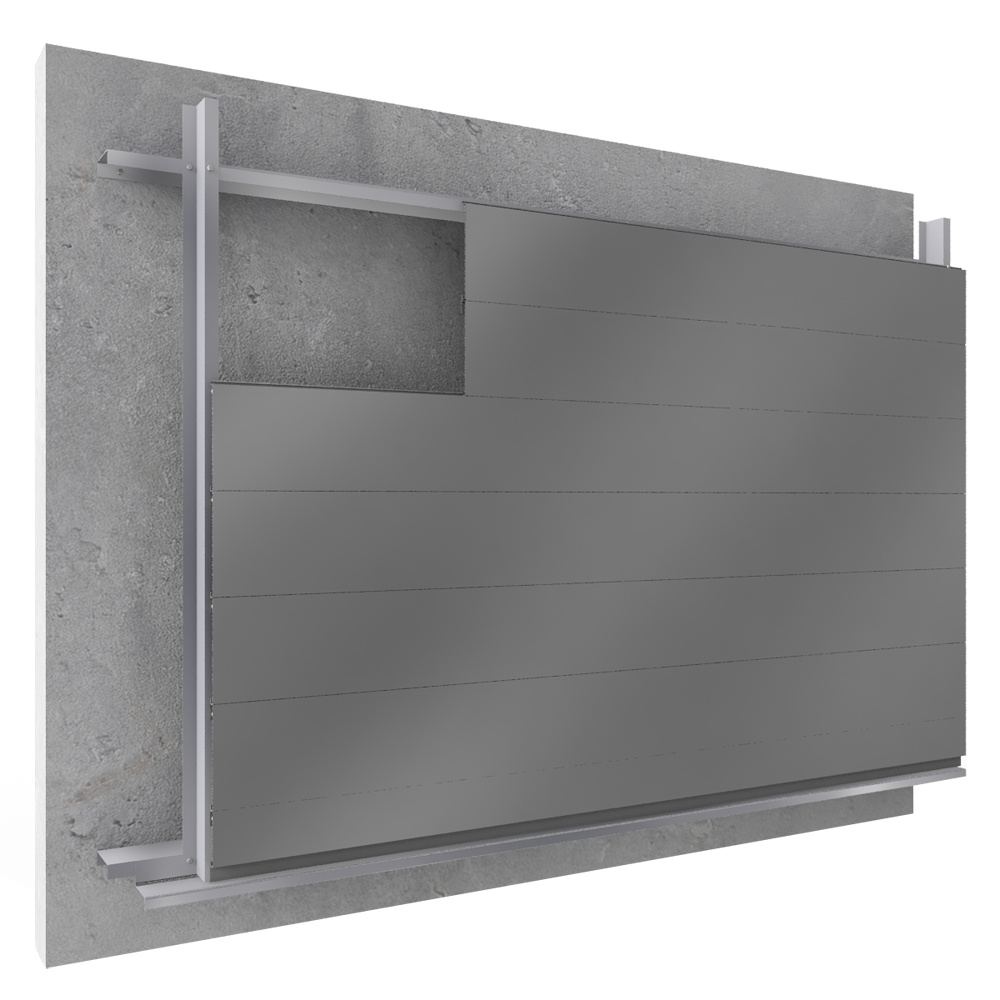 Overcladding with steel or alu sidings in horizontal position  3D View