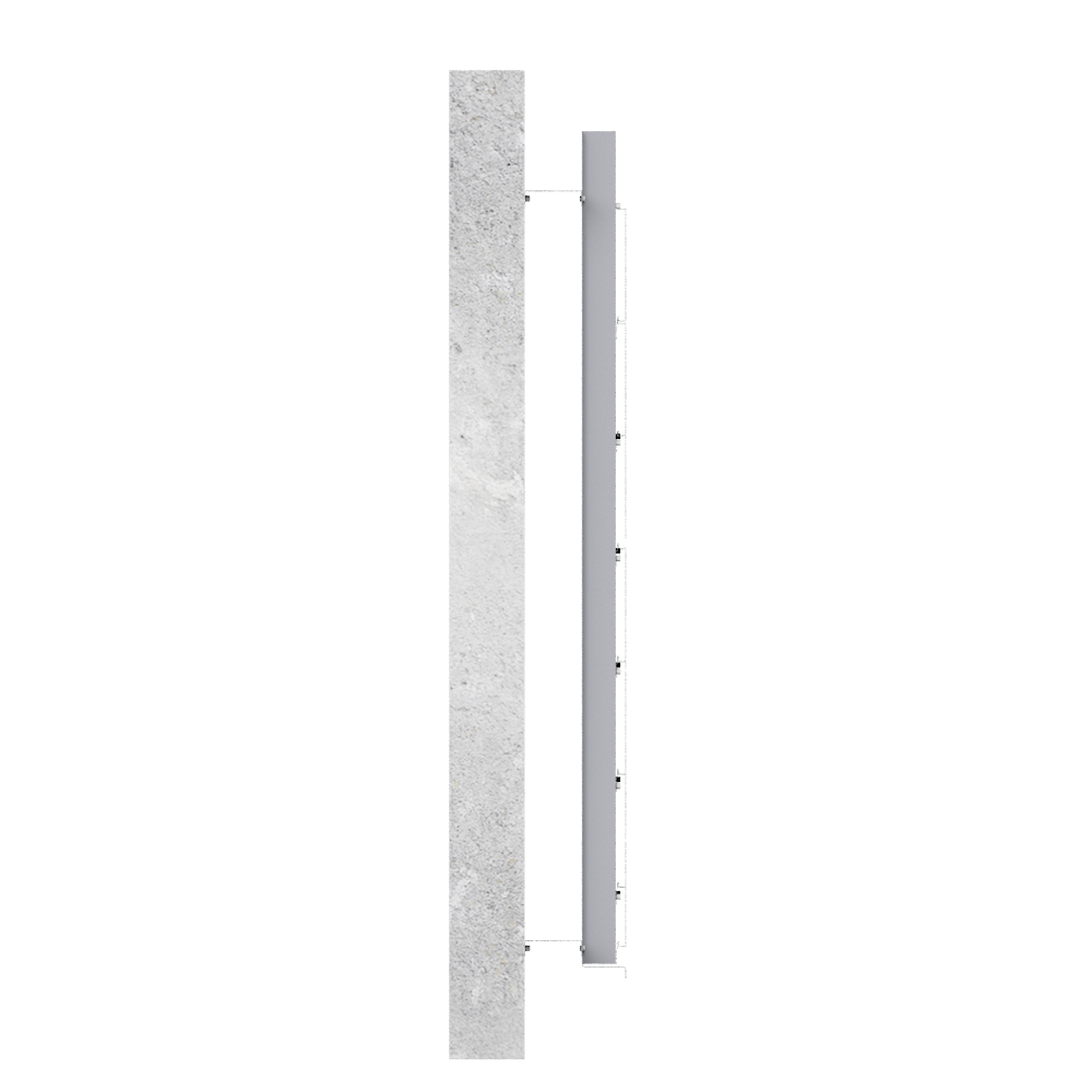 Overcladding with steel or alu sidings in horizontal position  Left