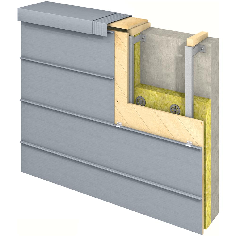 Angled Standing Seam (Facade horizontal, prePATINA blue grey)  Preview