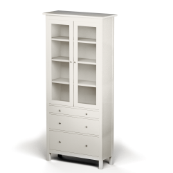 Glass door cabinet with four drawers