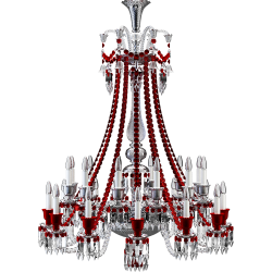 Zenith Clear and Red Chandelier 24L long