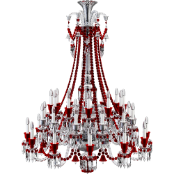 Zenith Clear and Red Chandelier 36L