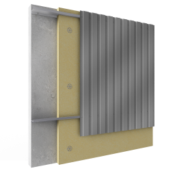 Steel built up cladding vertical position with insulation