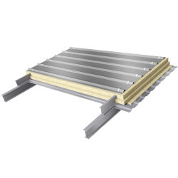 Steel double skin roofing parallel to inside profile with purlin