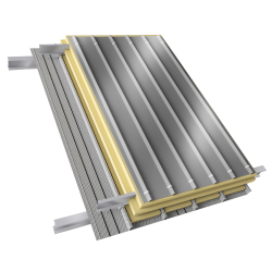 Steel double skin roofing parallel to inside perfo trays with purlin