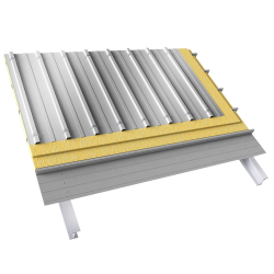 Steel double skin roofing crossed with structural perfo slashed trays