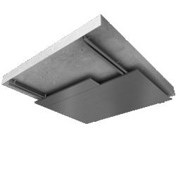 Suspended ceiling underside canopy inside wall with steel alu sidings