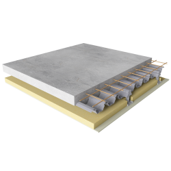 Composite floor with fire  acoustic protection
