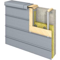 Angled Standing Seam (Facade horizontal, prePATINA blue grey)
