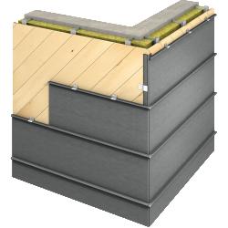 Angled Standing Seam (Facade horizontal, prePATINA graphite grey)