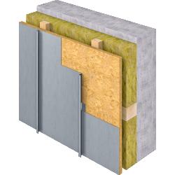 Angled Standing Seam (Facade vertical, prePATINA blue grey)